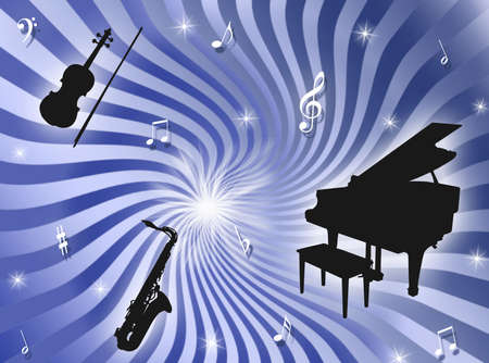 analogical: Sunburst background with musical instruments, notes and stars Stock Photo