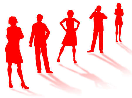 earnings: Business people silhouettes in different poses and attitudes