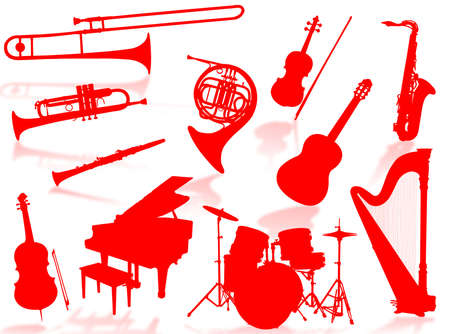 Musical instruments silhouette to represent music world