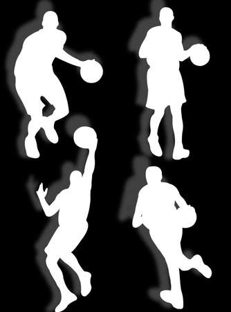elasticity: basketball players silhouette in different poses and attitudes