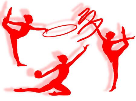 gymnastics silhouette: Young women in rhythmic gymnastics silhouette and exercise Stock Photo