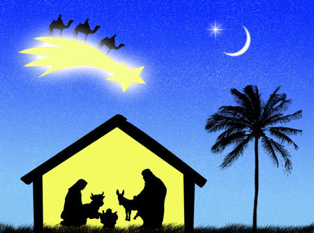 Jesus birth in the stable to represent Christmas time Stock Photo