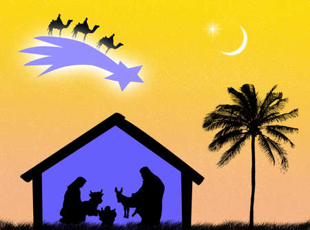 stable: Jesus birth in the stable to represent Christmas time Stock Photo