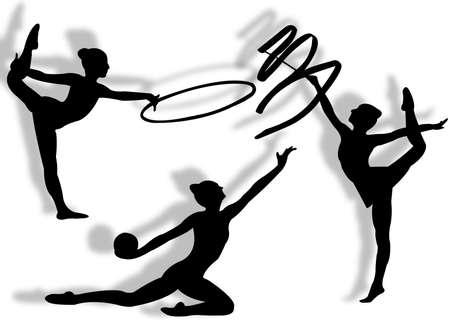 rhythmische sportgymnastik: Junge Frauen bei der rhythmischen Gymnastik Silhouette und Bewegung Lizenzfreie Bilder