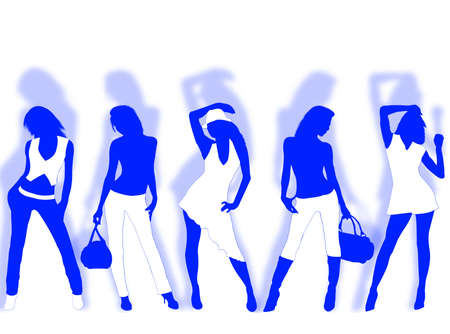 Collection of different fashion silhouette and different women poses photo