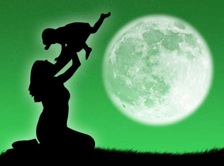 procreation: Mother and son in silhouette against the moon