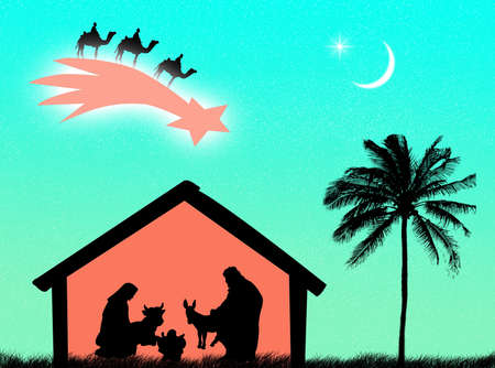 Jesus birth in the stable to represent Christmas time photo
