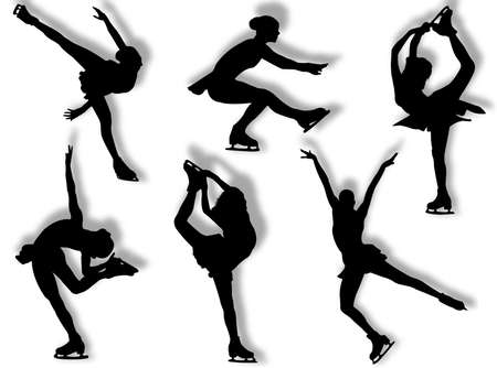 Ice skater silhouette in different poses and attitudes