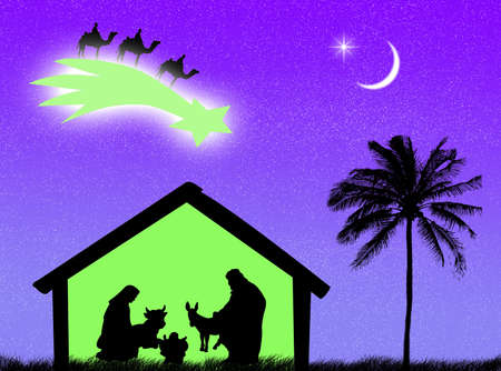 nacimiento de jesus: Nacimiento de Jes�s en el establo para representar a la Navidad