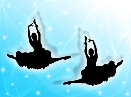 elasticity: Classical dancers dancing in the stars on a colorful background Stock Photo