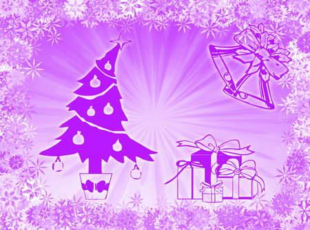 recurrence: Tree, gifts and bells to represent Christmas time Stock Photo