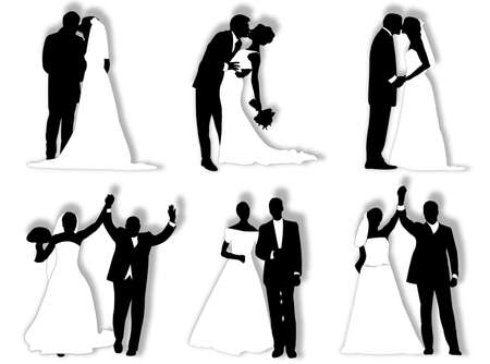 Bride and groom in different poses and attitudes