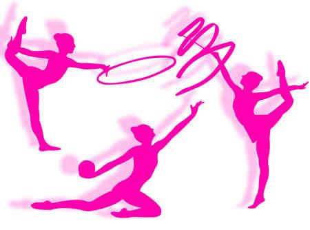 disciplines: Jonge vrouwen in ritmische gymnastiek silhouet en oefening  Stockfoto