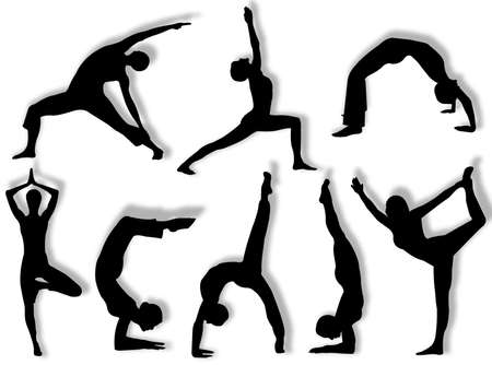 Yoga silhouettes in different poses and attitudes Stock Photo
