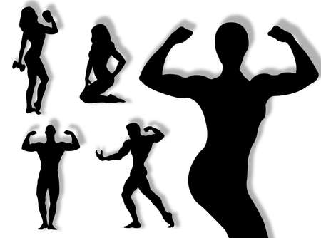 body builder: Body builder silhouette in different poses and attitudes Stock Photo