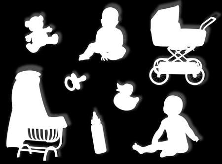 plaything: Baby silhouettes with baby objects and game silhouettes