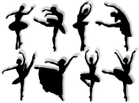 elasticity: Classical dancers silhouette in different poses and attitudes Stock Photo