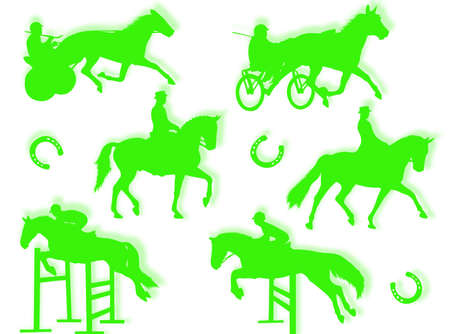 equitation: Equitation silhouette in different poses and attitudes Stock Photo