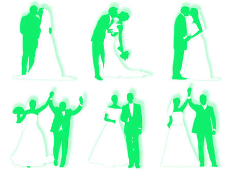 infatuation: Bride and groom in different poses and attitudes