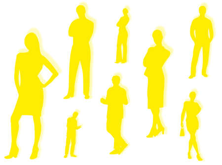 financial position: Business men and women in different poses and attitudes