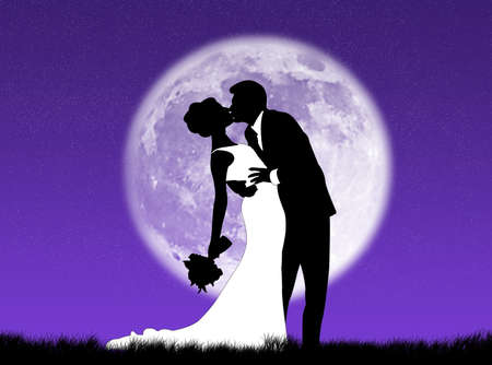 infatuation: Bride and groom kissing in the moon
