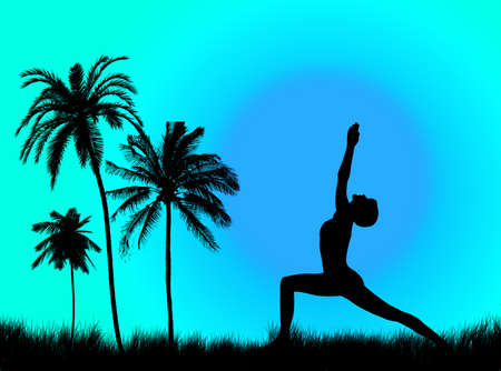 Yoga pose in the sunset and in the nature photo