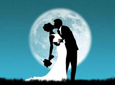 新郎新婦は月のキス