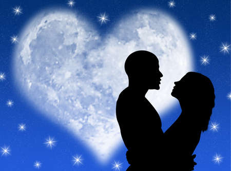 Lovers in a starry night with a heart shape moon