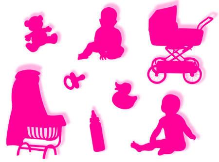 agachado: Beb� beb� con siluetas de objetos y siluetas juego