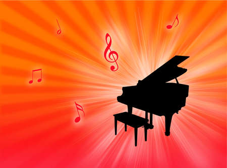 vibrations: Piano instrument on a colorful background with notes in the air Stock Photo
