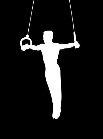 Gymnast on rings as symbol of sport and activity Stock Photo - 4506541