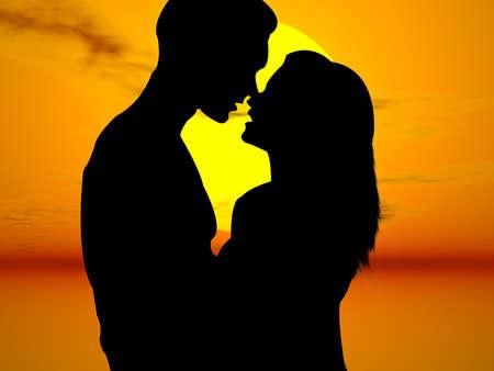 非常にカラフルな夕日にキス恋人 写真素材