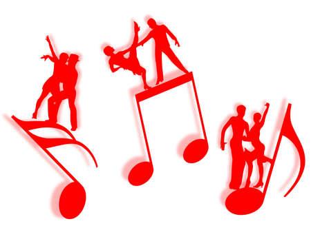 音楽のシンボルとしてシルエットのノートに踊るカップル