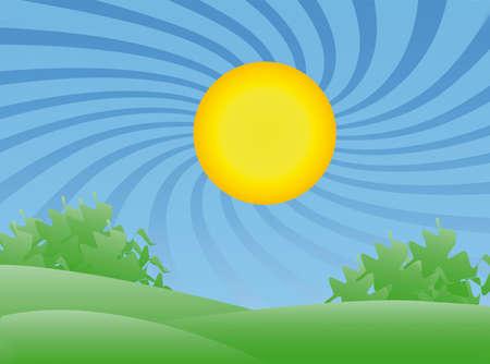 Sunrays フィールドと木のカラフルな夏の風景  イラスト・ベクター素材