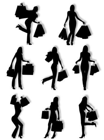種類のポーズや態度で女性のシルエットをショッピング