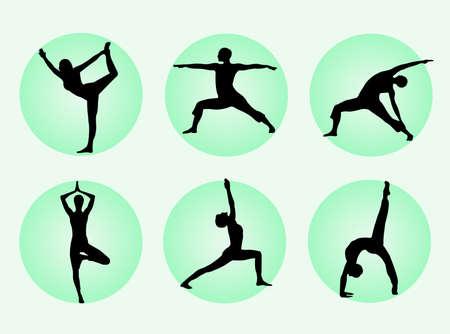 瞑想を表現するシルエットでさまざまなヨガのポーズ