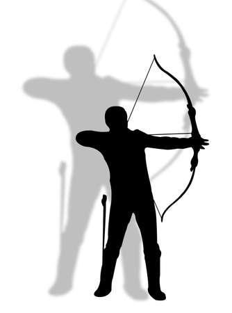 シルエットの射手男はアーチャー スポーツを表す  イラスト・ベクター素材