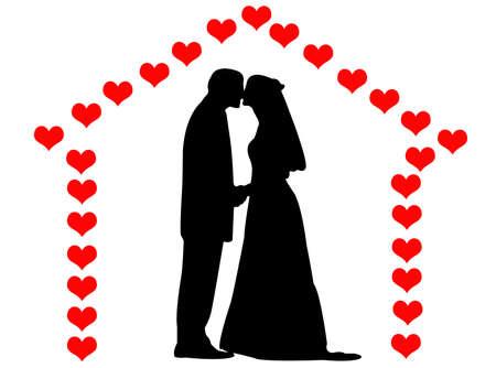 L'homme et la femme en mariage c?urs une maison Banque d'images - 5502391
