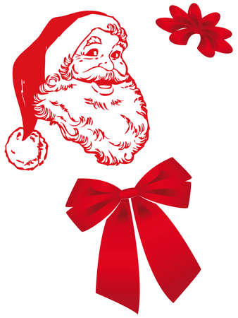 Santa Claus with bow and decorations for this Christmas card Ilustracja