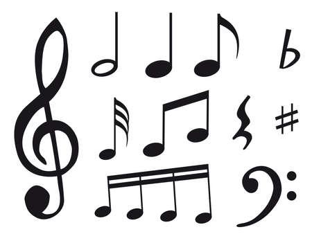 Autre type de notes de musique comme symbole de la feuille de musique