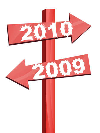 goes: 2009 goes away and 2010 arrives in this direction illustration
