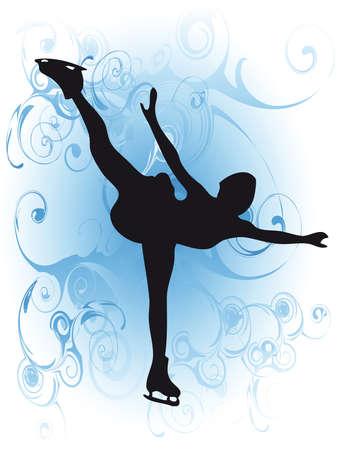 Ijs skater meisje silhouet als symbool van de winter sport  Stock Illustratie