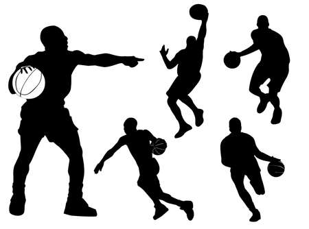 Basketball players silhouette in different poses and attitudes Ilustracja