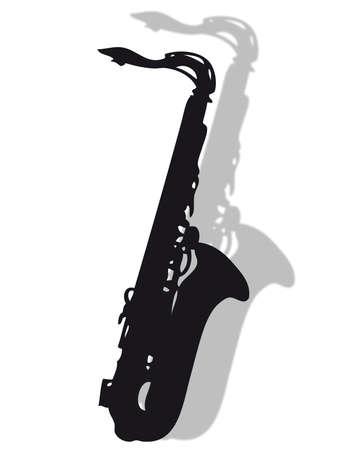 影とシルエットでサックス楽器