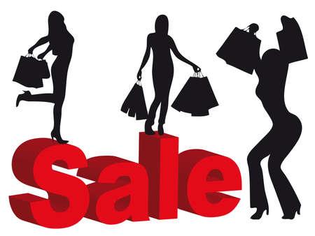 季節割引中にショッピングを作る女性のシルエット