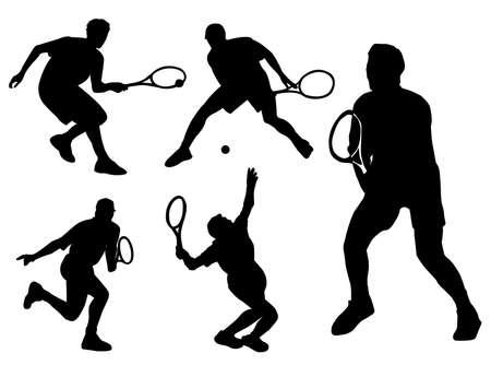 種類のポーズや態度でテニス プレーヤー シルエット  イラスト・ベクター素材