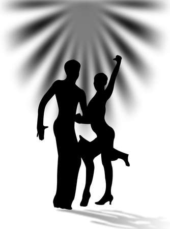 Man and woman dancing latin dance with shadow