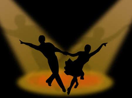 スポット ライトでラテンダンスを踊るカップル