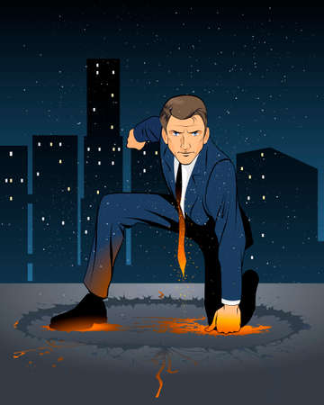 forceful: Vector illustration of a superhero businessman