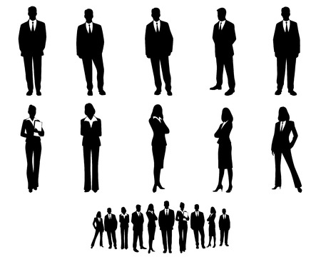 persona de pie: Ilustración vectorial de un conjunto de trabajadores de cuello blanco